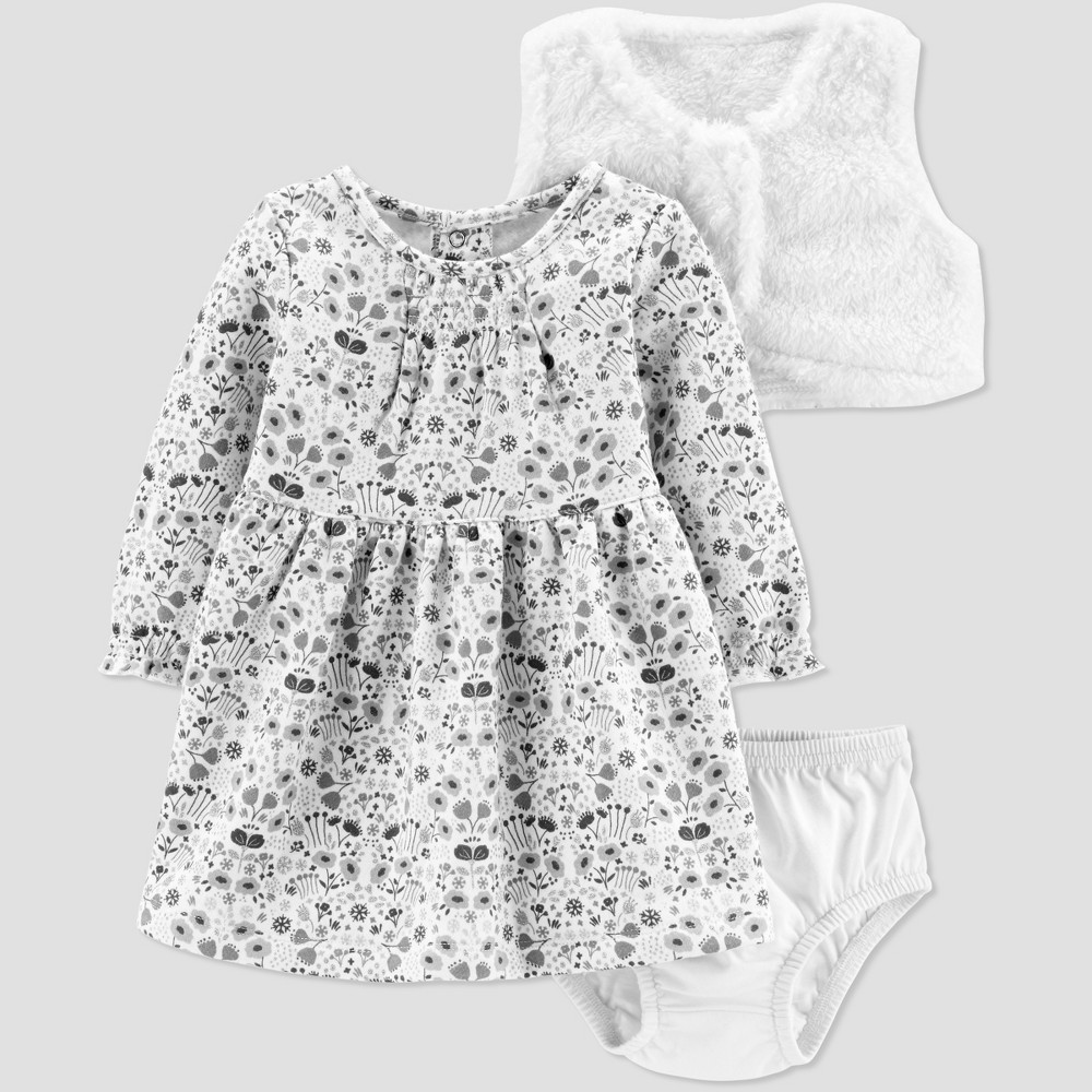 Baby Girls' Sherpa Vest Dress Set - Just One You made by carter's Blue 24M, Gray