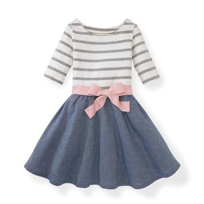 Hope & Henry Girls' White and Pink Striped with a Chambray Skirt Blocked Skater Dress