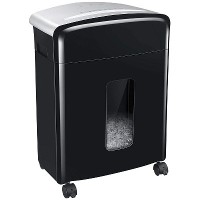 Bonsaii C220-B Portable 10 Sheet Cross Cut Paper and Credit Card Home Office Shredder Bin with 3.5 Gallon Capacity Wastebasket and 4 Rolling Wheels