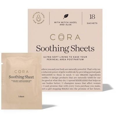 Cora Organic Postpartum/Post-Natal Soothing Sheets - 18ct