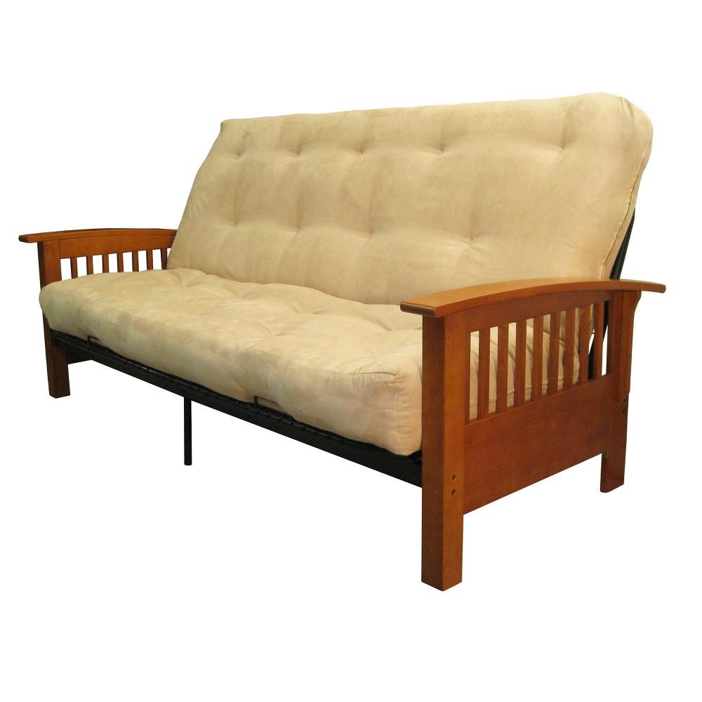 8 Craftsman Cotton/Foam Futon Sofa Sleeper Medium Oak Wood Finish Sand (Brown) - Epic Furnishings
