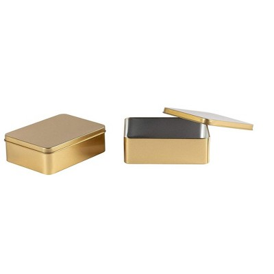 "Juvale 6-Pack Rectangular Tin Gift Box with Lid, Empty Tin Can Storage Containers for Party Favors Treat Candy Cookie, Gold, 4.9""x3.7""x1.6"""