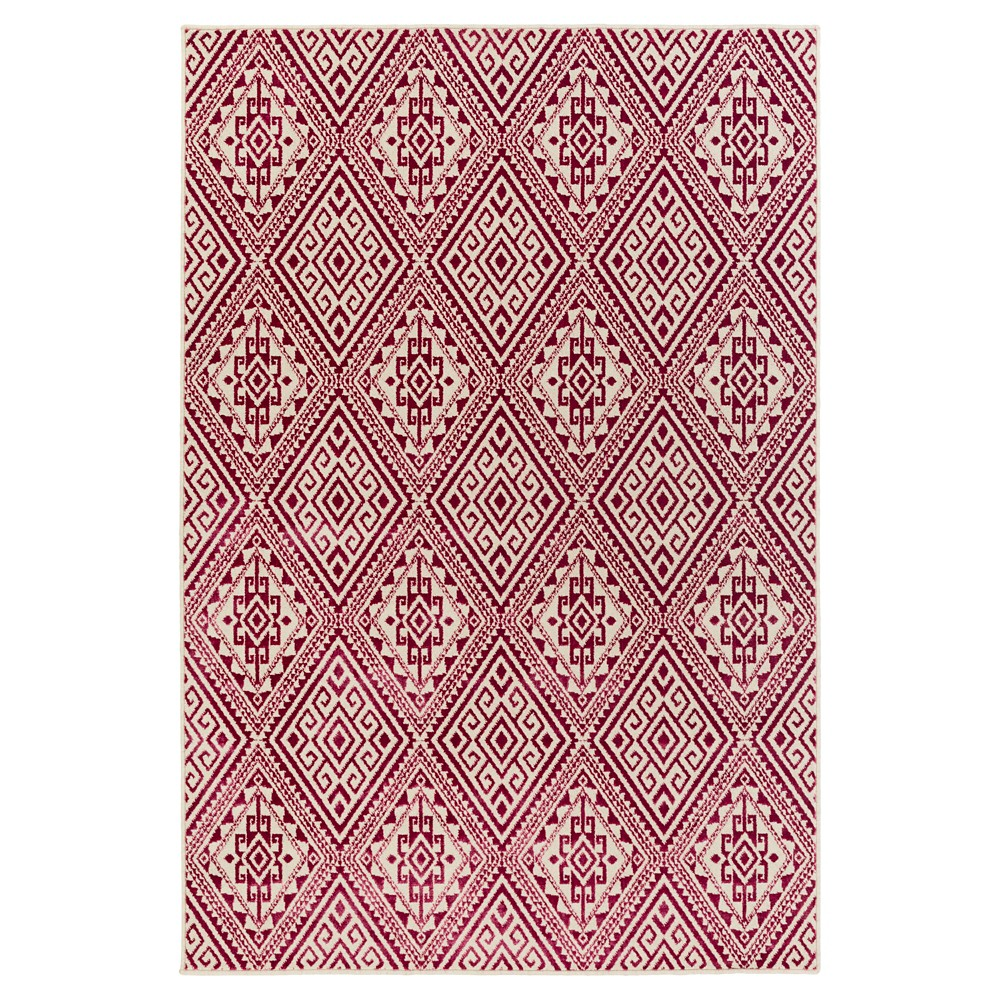 Pink Abstract Tufted Area Rug - (5'3