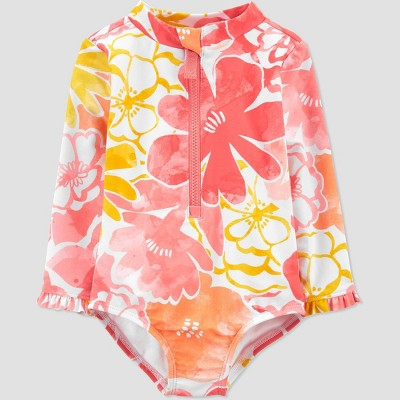 Baby Girls' Floral Print Long Sleeve One Piece Rash Guard - Just One You® made by carter's Pink 3M