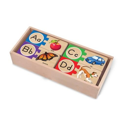 Melissa & Doug Self-Correcting Alphabet Wooden Puzzles With Storage Box 27pc - image 1 of 4
