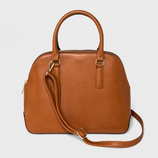 Triple Compartment Dome Satchel Handbag - A New Day™ Maple