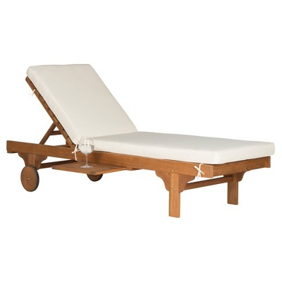 Newport Chaise Lounge Chair With Side Table - Teak Brown / Beige - Safavieh