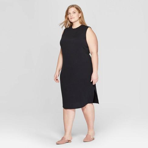 Women\'s Plus Size Sleeveless Scoop Neck Knit Midi Dress - Prologue™ Black X