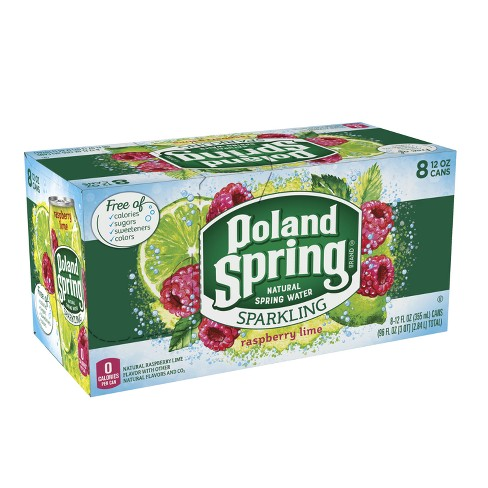 Poland Spring Raspberry Lime Sparkling Water - 8pk/12 fl oz Cans - image 1 of 8