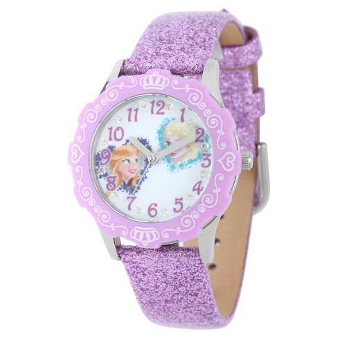 Girls' Disney Frozen Anna and Elsa Stainless Steel Glitz Case and Bezel Watch - Purple - image 1 of 2