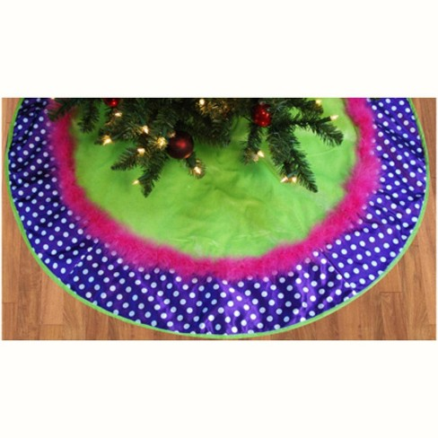 "Sterling 48"" Green Velveteen Christmas Tree Skirt with Purple Polka Dot Border - image 1 of 1"