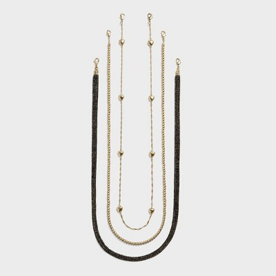 SUGARFIX by BaubleBar Women's 3pk Glasses Lanyard with Multifunctional Clasp - Metallic/Bead/Heart One Size