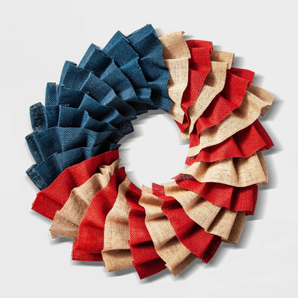 "Image of ""19"""" Patriotic Burlap Wreath - Lloyd & Hannah"""