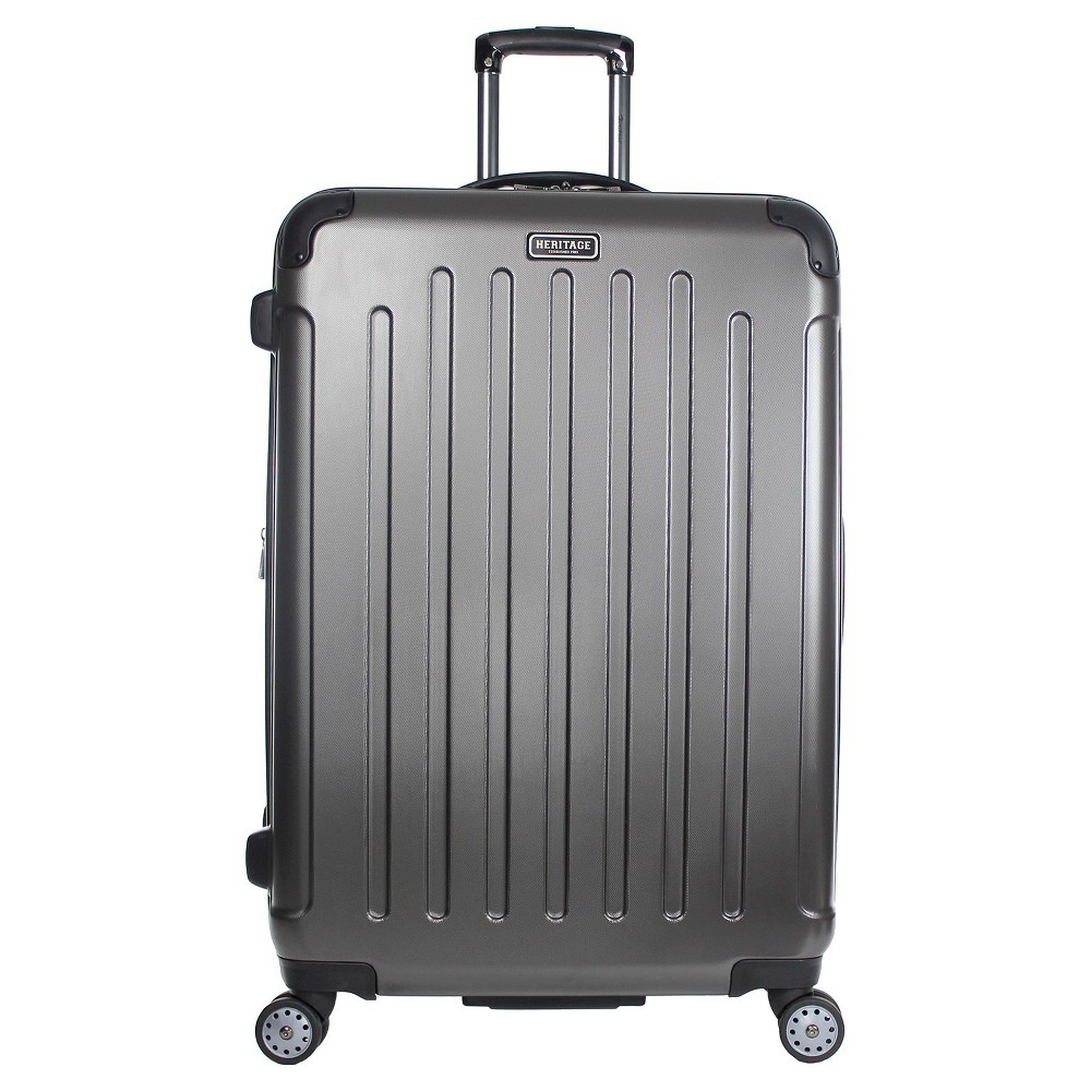 "Image of ""Heritage Logan Square Charcoal Polycarbonate & ABS Blend Lightweight 8 Wheel Expandable Suitcase - Charcoal (29""""), Grey"""