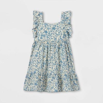 Girls' Floral Flutter Sleeve Woven Dress - Cat & Jack™
