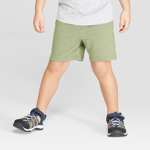 Toddler Boys' Knit Pull-On Shorts - Cat & Jack™ Olive - image 1 of 3