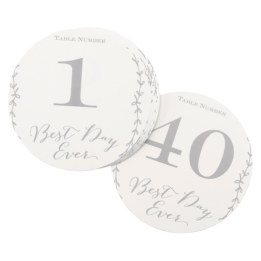 Hortense B. Hewitt Rustic Vines Table Numbers - 1-40, White
