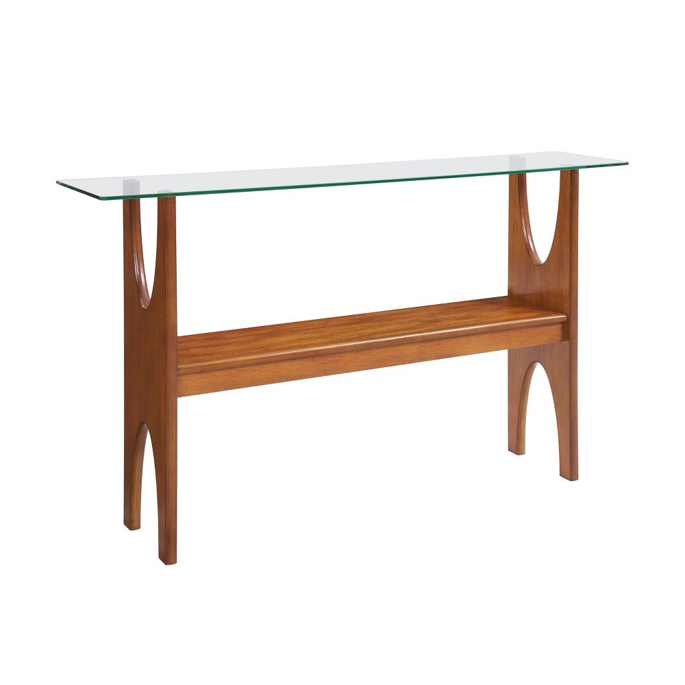 Seraphina Glass Top Console Table Brown - Aiden Lane