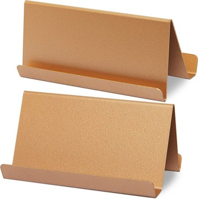 Paper Junkie 2-Pack Rose Gold Metal Stainless Steel Business Card Holder Desktop Name Card Display Stand