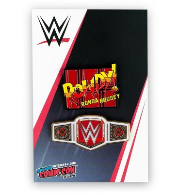 SalesOne LLC WWE Rowdy Ronda Rousey Collector Pin Set | Exclusive Women's Champion Belt Pin
