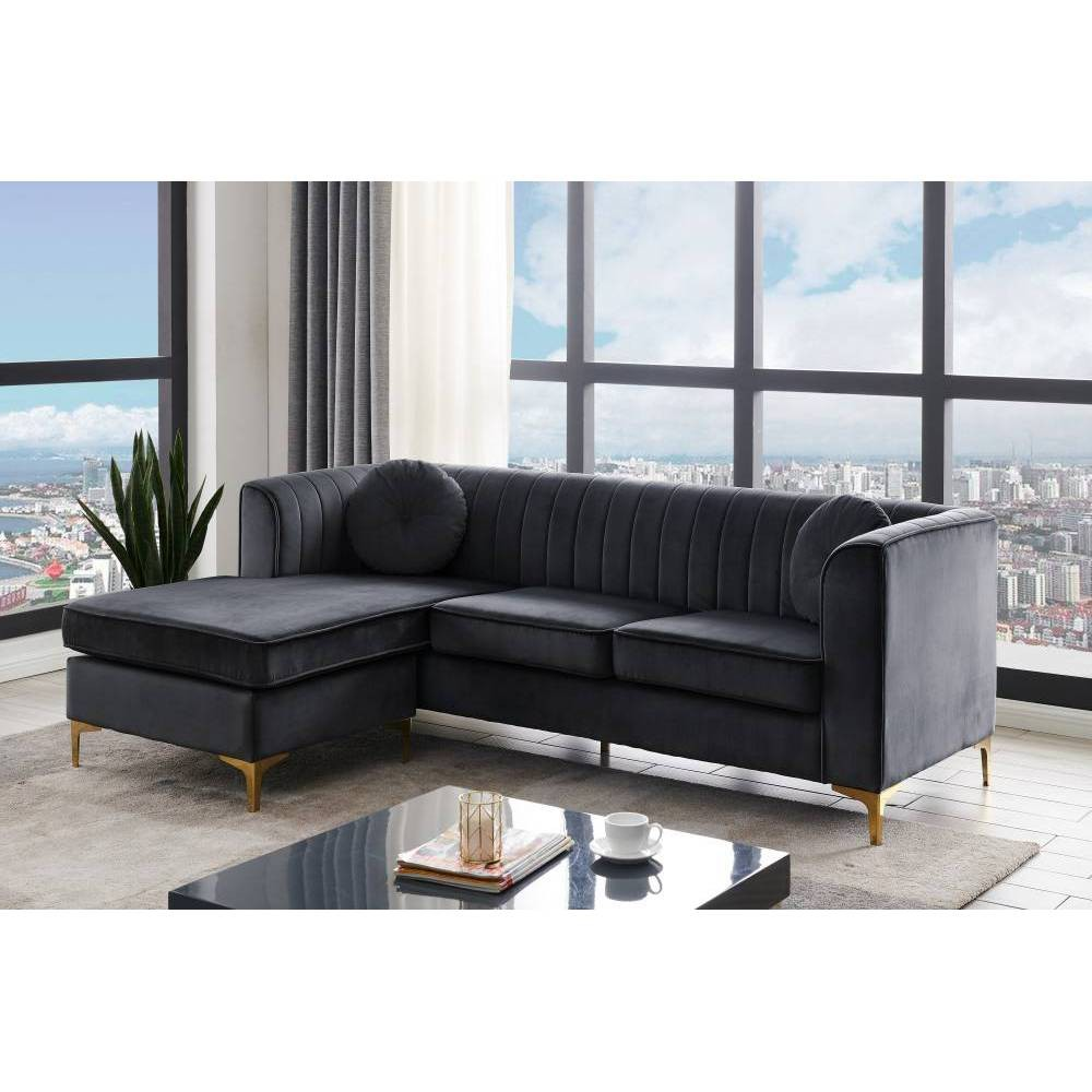 Think of the Britannia modular sectional sofa as a statement-making piece that incorporates contemporary design and boundless flexibility. The Britannia sectional consists of a sofa and a chaise that you can rearrange in a snap to meet your decor needs. Looking for an L shaped right facing chaise sectional - done, left-facing - also done. Upholstered in luxe velvet and finished with sleek gold tone solid metal Y-legs, the Britannia epitomizes style meets function. Color: Black.