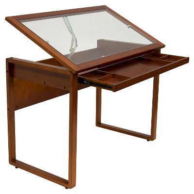 Canvas & Color Wood Drawing Table With Glass Top Sonoma Brown - Studio Designs