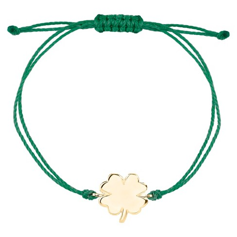Gold Plated Over Sterling Silver Bracelet Green Cord Clover - image 1 of 1