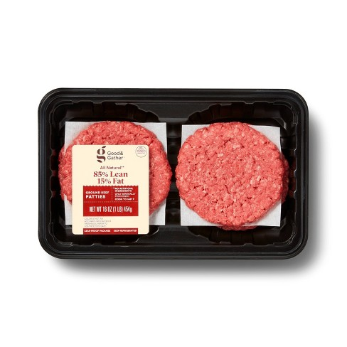 All Natural 85/15 Ground Round Patties - 4pk/1lb - Good & Gather™ - image 1 of 2