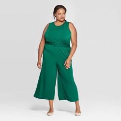 Women's Plus Size Sleeveless Crewneck Belted Knit Jumpsuit - Ava & Viv™
