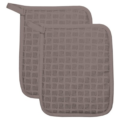 Herringbone Silicone Potholder Set Slate (7 X9 )- Mu Kitchen