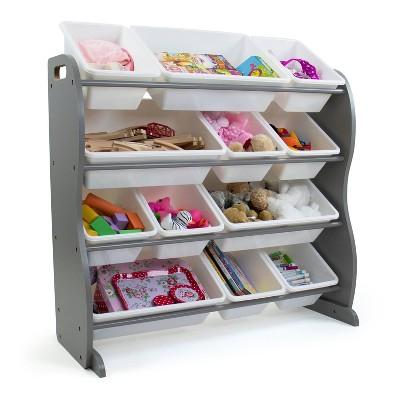 Inspire Contour Toy Storage Organizer with 12 Storage Bins Gray/White - Humble Crew