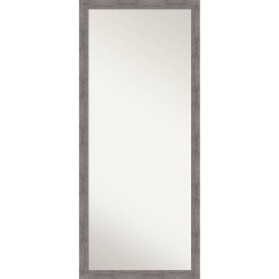 """28"""" x 64"""" Pinstripe Plank Framed Full Length Floor/Leaner Mirror Gray - Amanti Art"""