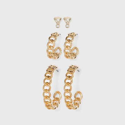 Stud and Frozen Chain Hoop Trio Earrings - A New Day™ Gold