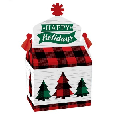 Big Dot of Happiness Holiday Plaid Trees - Treat Box Party Favors - Buffalo Plaid Christmas Party Goodie Gable Boxes - Set of 12
