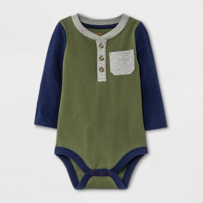 Baby Boys' Henley Colorblock Long Sleeve Bodysuit with Pocket - Cat & Jack™ Olive Green 0-3M