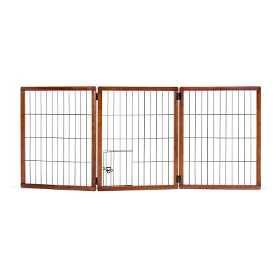 Carlson 3 Panel Freestanding Extra Tall Wood Cat and Dog Gate with Small Door