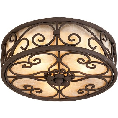 "John Timberland Rustic Ceiling Light Flush Mount Fixture Dark Walnut Scroll 12"" Wide Natural Mica Drum Shade for Bedroom Kitchen"