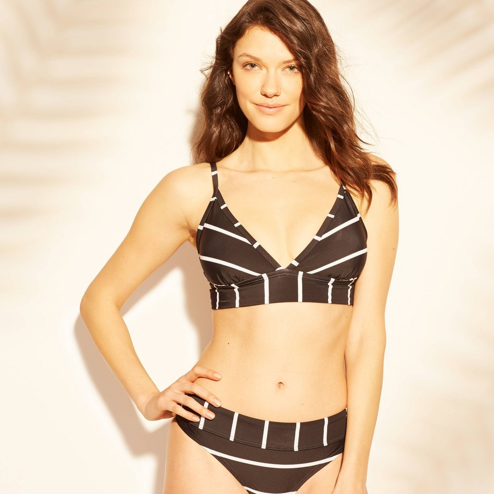 becb5723950a1 Womens Banded Triangle Bikini Top Kona Sol BlackWhite Stripe S