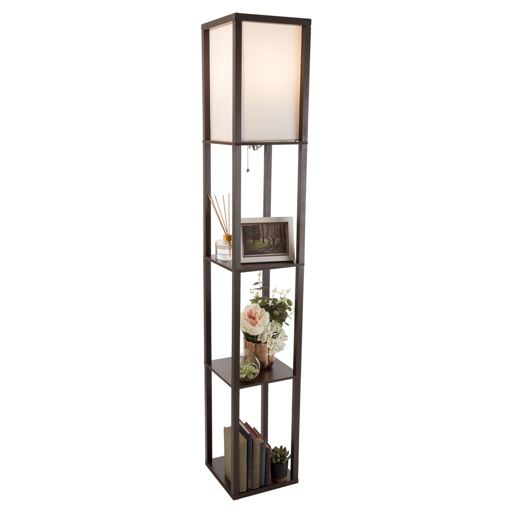 Image of Torchiere Floor lamp Brown (Includes Energy Efficient Light Bulb) - Lavish Home
