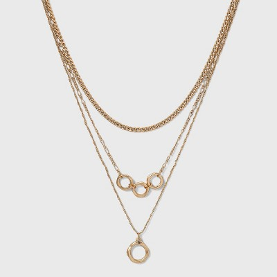 Worn Gold Layered Chain Necklace - Universal Thread™ Gold
