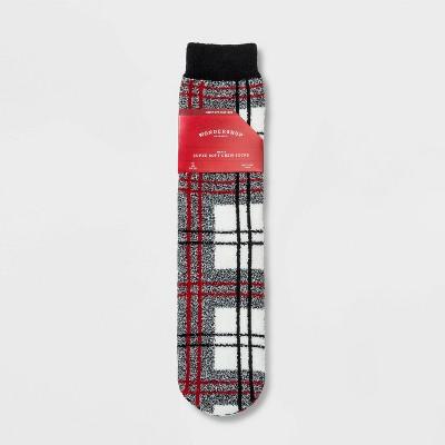 Men's Holiday Plaid Cozy Crew Socks with Gift Card Holder - Wondershop™ Gray 7-12