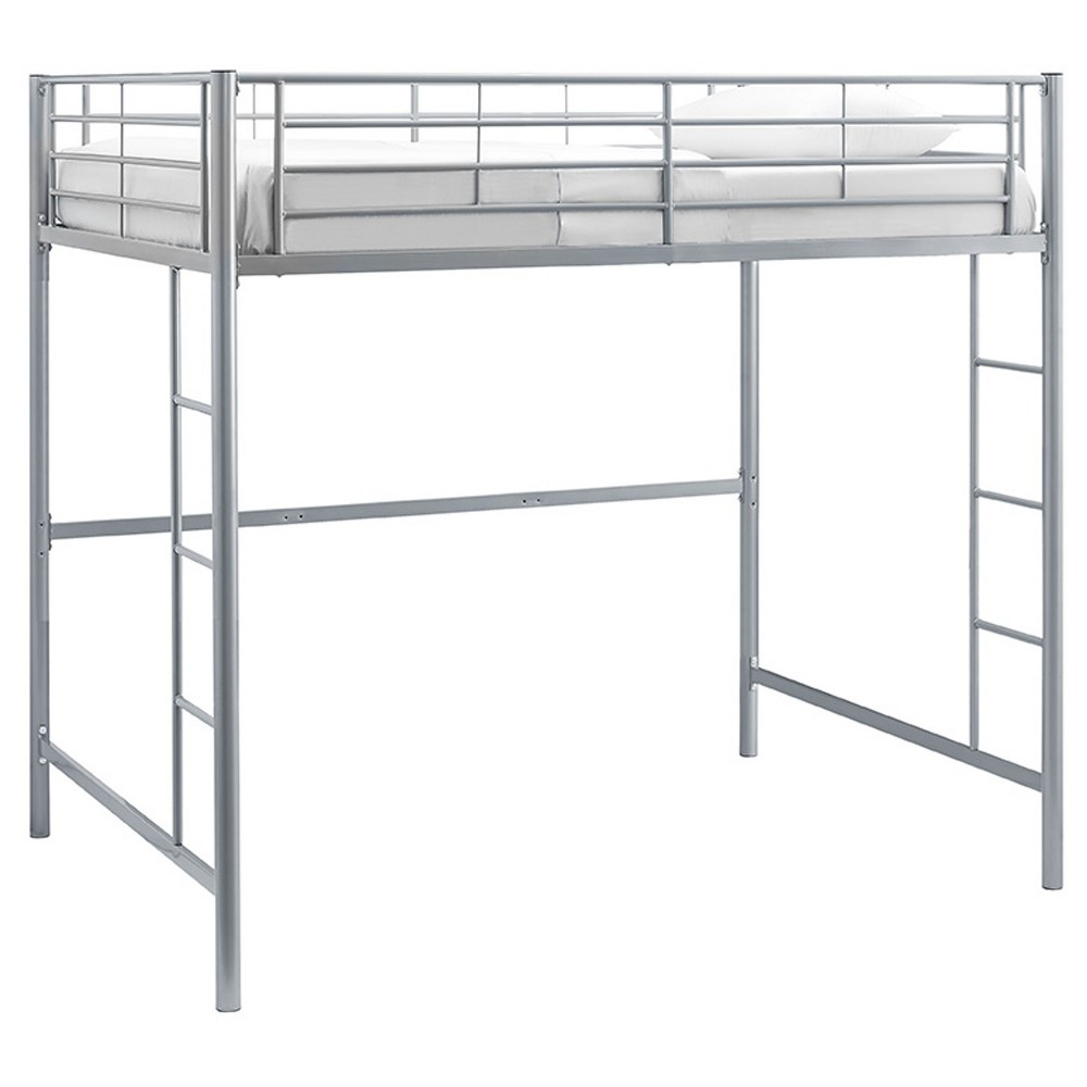 Premium Metal Full Size Loft Bed - Silver - Saracina Home