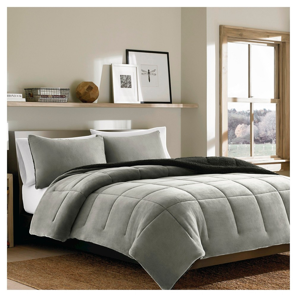 Premium Fleece Comforter Set (Full/Queen) 3-Piece Silver - Eddie Bauer