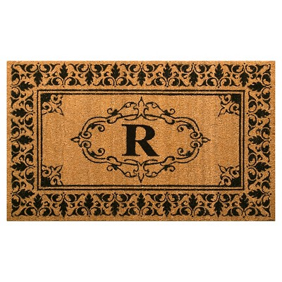 Light Brown Monogram Woven Doormat - (3'x5')- nuLOOM