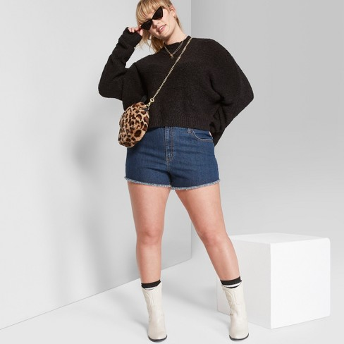 8dd891b596 Women's Plus Size High-Rise Cutoff Jean Shorts - Wild Fable™ Blue ...