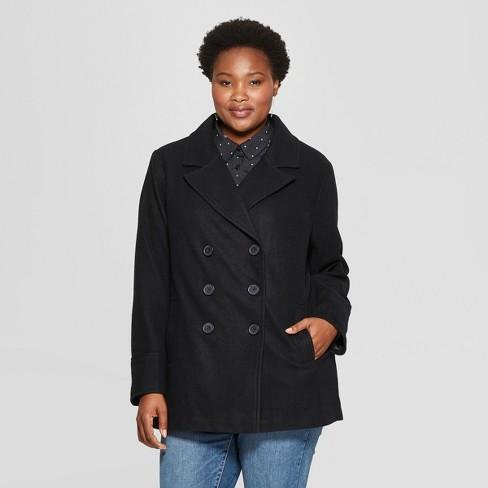 Women S Plus Size Pea Coat Ava Viv Black X Target