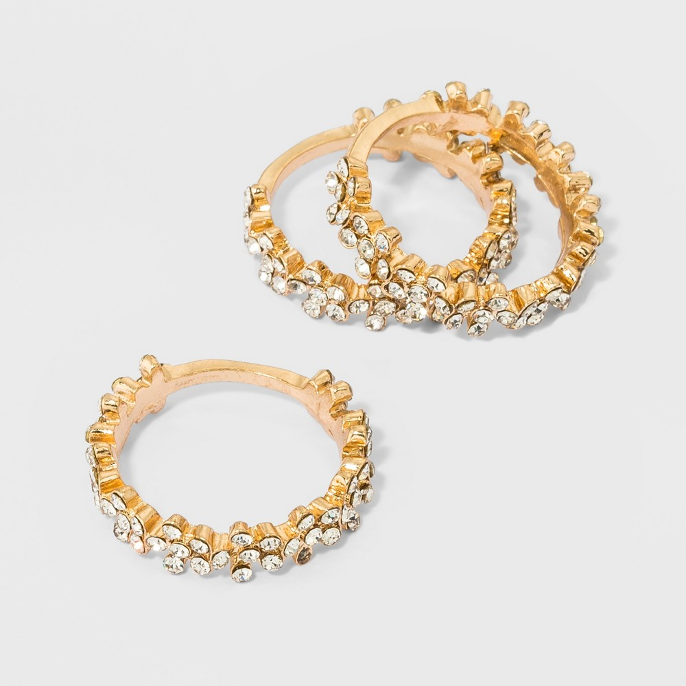 Crystal Floral Bands 3pc A New Day 8482 Size 8 Gold