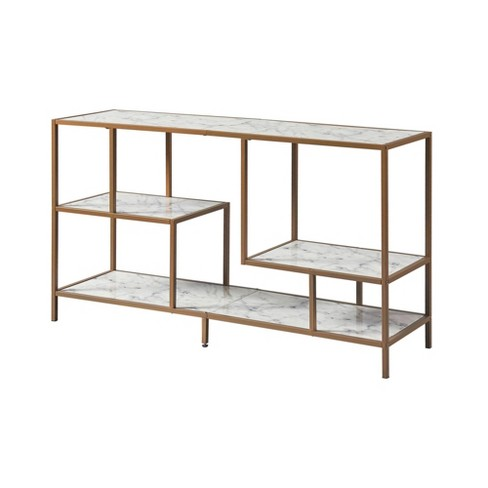 Marmo TV Stand with Faux Marble Top Brass - Versanora - image 1 of 4