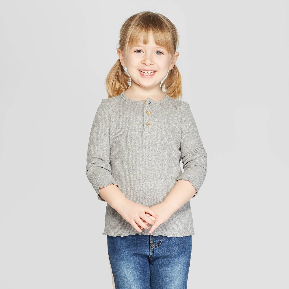Toddler Girls' Long Sleeve Rib Henley Shirt - art class Gray 12M
