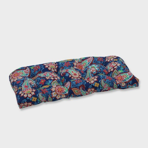 Paisley Party Wicker Outdoor Loveseat Cushion Blue - Pillow Perfect - image 1 of 1